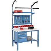 """48""""W X 30""""D Production Workbench - ESD Laminate Square Edge Complete Bench - Blue"""