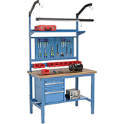 "48""W X 30""D Production Workbench - Shop Top Safety Edge Complete Bench - Blue"