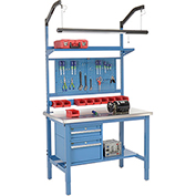 "48""W X 30""D Production Workbench - Stainless Steel Square Edge Complete Bench - Blue"