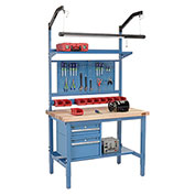 "48""W X 36""D Production Workbench - Maple Butcher Block Square Edge Complete Bench - Blue"