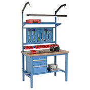 "60""W X 30""D Production Workbench - Shop Top Safety Edge Complete Bench - Blue"