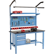 "60""W X 36""D Production Workbench - Phenolic Resin Safety Edge Complete Bench - Blue"