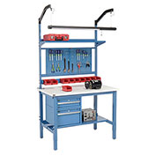 "72""W X 30""D Production Workbench - ESD Laminate Square Edge Complete Bench - Blue"