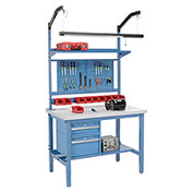 "72""W X 30""D Production Workbench - Plastic Laminate Square Edge Complete Bench - Blue"