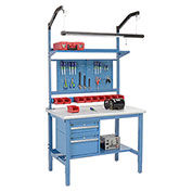 """72""""W X 30""""D Production Workbench - Plastic Laminate Safety Edge Complete Bench - Blue"""