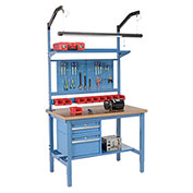 "72""W X 30""D Production Workbench - Shop Top Square Edge Complete Bench - Blue"