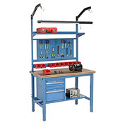 "72""W X 30""D Production Workbench - Shop Top Safety Edge Complete Bench - Blue"