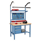 "72""W X 36""D Production Workbench - Birch Butcher Block Square Edge Complete Bench - Blue"