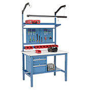 "72""W X 36""D Production Workbench - ESD Laminate Safety Edge Complete Bench - Blue"