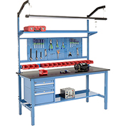 "72""W X 36""D Production Workbench - Phenolic Resin Safety Edge Complete Bench - Blue"