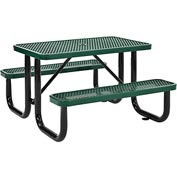 "48"" Rectangular Expanded Metal Picnic Table Green"