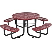 "46"" Round Expanded Metal Picnic Table Red"