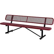 "96""  Expanded Metal Mesh Bench With Back Rest Red"
