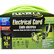 Flexzilla 722-123050FZL5F Pro Extension Cord, 50', 12/3, All-weather, Lighted Plug, ZillaGreen