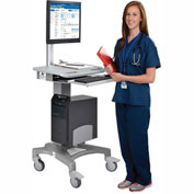 Mobile Standing Point of Care Medical Workstation / Computer PC Cart – Height Adjustable Pneumatic
