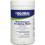 Global™ Multi-Purpose Scrubbing Wipes, 70 Wipes/Canister, 6 Canisters/Case