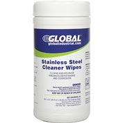 Global™ Stainless Steel Cleaner Wipes, 40 Wipes/Canister, 6 Canisters/Case