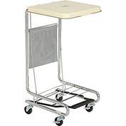 Global™ Chrome Hamper Stand with Foot Pedal and Poly Coated Steel Lid