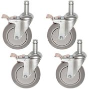 Stem Casters Set of (4) 5 Inch Polyurethane Wheels, All 4 with Brakes, 1200 Lb. Cap.