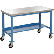 "48""W x 30""D Mobile Workbench - Stainless Steel Square Edge - Blue"