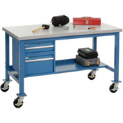 "48""W x 30""D Mobile Workbench - Plastic Laminate Square Edge - Blue"