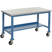 "48""W x 30""D Mobile Production Workbench with Power Apron - ESD Square Edge - Blue"