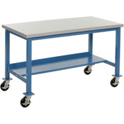 "48""W x 30""D Mobile Production Workbench with Power Apron - ESD Safety Edge - Blue"