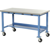 "48""W x 30""D Mobile Production Workbench with Power Apron - Stainless Steel Square Edge Edge - Blue"