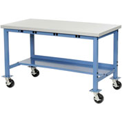 "48""W x 30""D Mobile Production Workbench with Power Apron - Plastic Laminate Safety Edge - Blue"