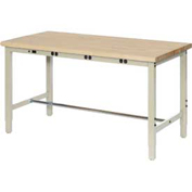 "72""W x 30""D Production Workbench with Power Apron- Finished Birch Butcher Block Square Edge – Tan"