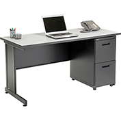 "Office Desk with 2 Drawers - 60"" x 24"" - Gray"