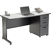 "Office Desk with 3 Drawers - 60"" x 24"" - Gray"