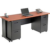 "Office Desk with 4 drawers - 72"" x 24"" - Cherry"