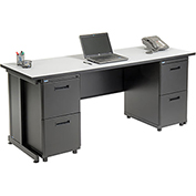 "Office Desk with 4 drawers - 72"" x 24"" - Gray"