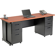 "Office Desk with 6 drawers - 72"" x 24"" - Cherry"