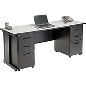 "Office Desk with 6 drawers - 72"" x 24"" - Gray"