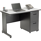 "Office Desk with 2 Drawers - 48"" x 24"" - Gray"
