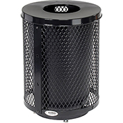 Global™ Deluxe Thermoplastic Coated 32 Gallon Mesh Receptacle w/Flat Lid & Base - Black