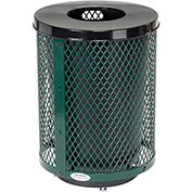 Global™ Deluxe Thermoplastic Coated 32 Gallon Mesh Receptacle w/Flat Lid & Base - Green