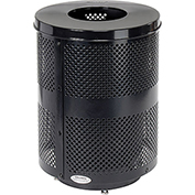 Global™ Deluxe Thermoplastic Coated 32 Gallon Perforated Receptacle w/Flat Lid & Base - Black
