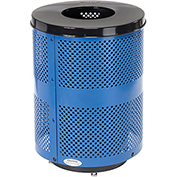 Global™ Deluxe Thermoplastic Coated 32 Gallon Perforated Receptacle w/Flat Lid & Base - Blue