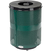 Global™ Deluxe Thermoplastic Coated 32 Gallon Perforated Receptacle w/Flat Lid & Base - Green