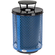 Global™ Deluxe Thermoplastic Coated 32 Gallon Mesh Receptacle w/Rain Bonnet Lid & Base - Blue