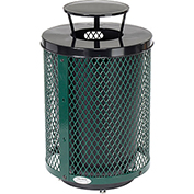 Global™ Deluxe Thermoplastic Coated 32 Gallon Mesh Receptacle w/Rain Bonnet Lid & Base - Green
