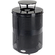 Global™ Deluxe Thermoplastic Coated 32 Gallon Perforated Receptacle w/Rain Bonnet Lid & Base-BK