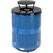 Global™ Deluxe Thermoplastic Coated 32 Gallon Perforated Receptacle w/Rain Bonnet Lid & Base-BL