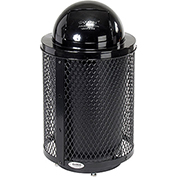 Global™ Deluxe Thermoplastic Coated 32 Gallon Mesh Receptacle w/Dome Lid & Base - Black