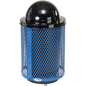 Global™ Deluxe Thermoplastic Coated 32 Gallon Mesh Receptacle w/Dome Lid & Base - Blue