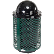 Global™ Deluxe Thermoplastic Coated 32 Gallon Mesh Receptacle w/Dome Lid & Base - Green