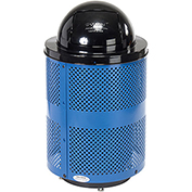 Global™ Deluxe Thermoplastic Coated 32 Gallon Perforated Receptacle w/Dome Lid & Base - Blue